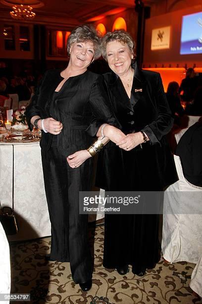 Actress Grit Boettcher and actress MarieLuise Marjan attend the 'Felix Burda Award 2010' at hotel Adlon Kempinski on April 18 2010 in Berlin Germany