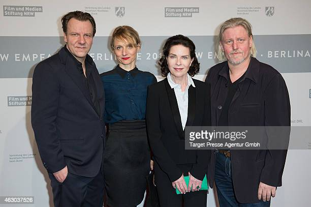 Actress Gudrun Landgrebe Till Frantzen Arne Nolting and Arved Birnbaum of the TV series 'Weinberg' attend the NRW Reception 2015 at Landesvertretung...