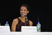 Actress Gugu Mbatha Raw speaks onstage at 'Belle' Press Conference during the 2013 Toronto International Film Festival at TIFF Bell Lightbox on...