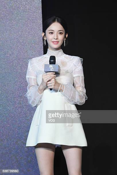 Actress Guli Nazha attends the booting ceremony of Chinese TV series Fighter Of The Destiny at 22nd Shanghai TV Festival on June 7 2016 in Shanghai...