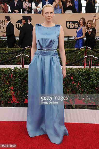 Actress Gwendoline Christie arrives at the 22nd Annual Screen Actors Guild Awards at The Shrine Auditorium on January 30 2016 in Los Angeles...