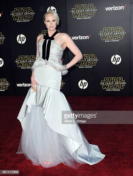 Actress Gwendoline Christie arrives for the Premiere Of Walt Disney Pictures And Lucasfilm's 'Star Wars The Force Awakens' held on December 14 2015...