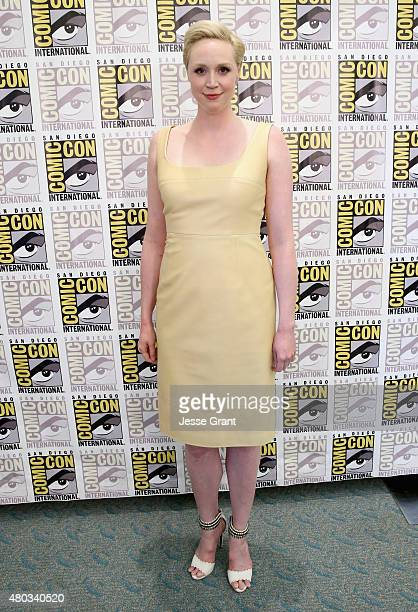 """Actress Gwendoline Christie at the Hall H Panel for """"Star Wars The Force Awakens"""" during ComicCon International 2015 at the San Diego Convention..."""