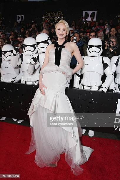 Actress Gwendoline Christie attends Premiere of Walt Disney Pictures and Lucasfilm's 'Star Wars The Force Awakens' on December 14 2015 in Hollywood...