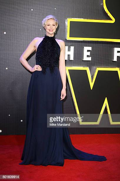 Actress Gwendoline Christie attends the European Premiere of 'Star Wars The Force Awakens' at Leicester Square on December 16 2015 in London England