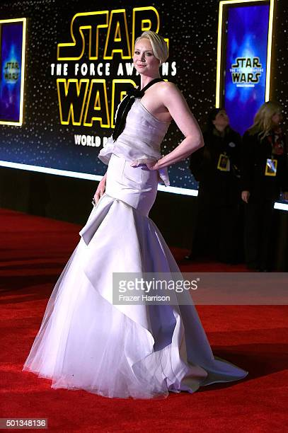 Actress Gwendoline Christie attends the premiere of Walt Disney Pictures and Lucasfilm's 'Star Wars The Force Awakens' at the Dolby Theatre on...