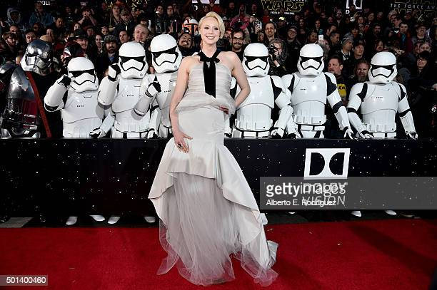 """Actress Gwendoline Christie attends the World Premiere of """"Star Wars The Force Awakens"""" at the Dolby El Capitan and TCL Theatres on December 14 2015..."""