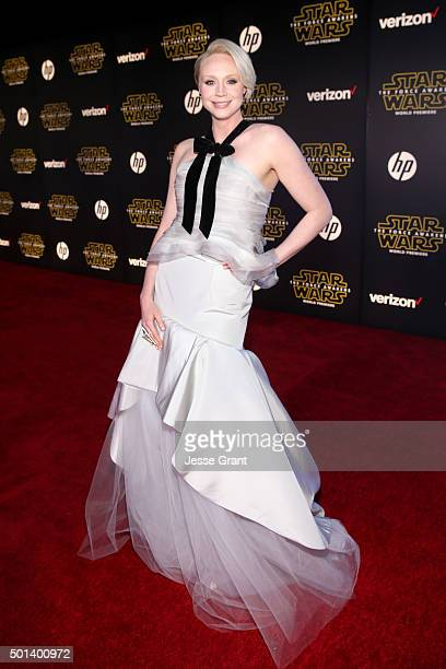 "Actress Gwendoline Christie attends the World Premiere of ""Star Wars The Force Awakens"" at the Dolby El Capitan and TCL Theatres on December 14 2015..."