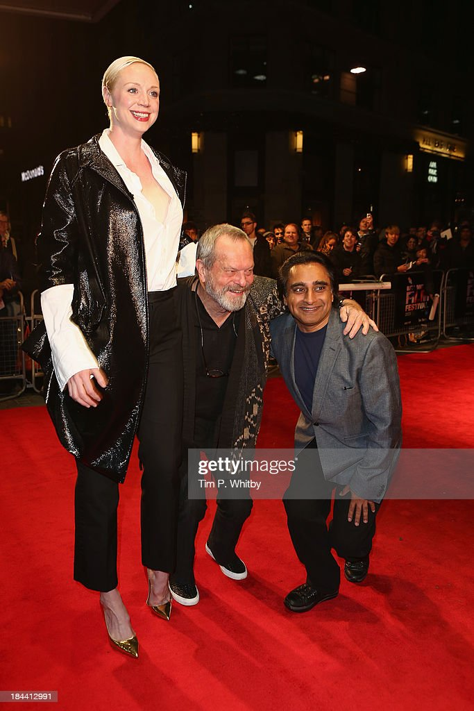 Actress <a gi-track='captionPersonalityLinkClicked' href=/galleries/search?phrase=Gwendoline+Christie&family=editorial&specificpeople=6341361 ng-click='$event.stopPropagation()'>Gwendoline Christie</a>, director <a gi-track='captionPersonalityLinkClicked' href=/galleries/search?phrase=Terry+Gilliam&family=editorial&specificpeople=221636 ng-click='$event.stopPropagation()'>Terry Gilliam</a> and actor <a gi-track='captionPersonalityLinkClicked' href=/galleries/search?phrase=Sanjeev+Bhaskar&family=editorial&specificpeople=703950 ng-click='$event.stopPropagation()'>Sanjeev Bhaskar</a> attend a screening of 'Zero Theorem' during the 57th BFI London Film Festival at Odeon West End on October 13, 2013 in London, England.