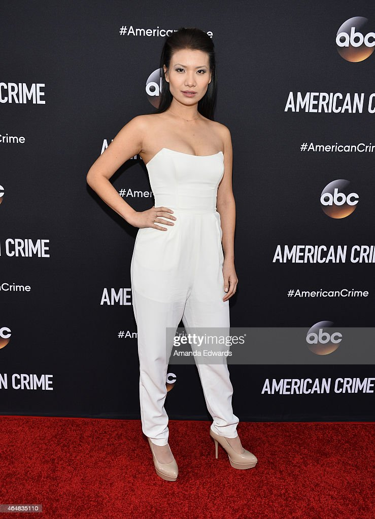 Actress Gwendoline Yeo arrives at the 'American Crime' premiere event at the Ace Hotel on February 28, 2015 in Los Angeles, California.