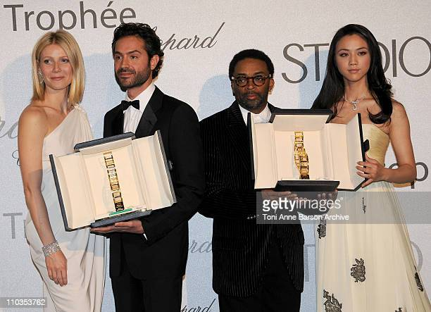 Actress Gwenyth Paltrow 2008 Chopard Trophy Award Winner Omar Metwally director Spike Lee and 2008 Chopard Trophy Award Winner Tang Wei at the...