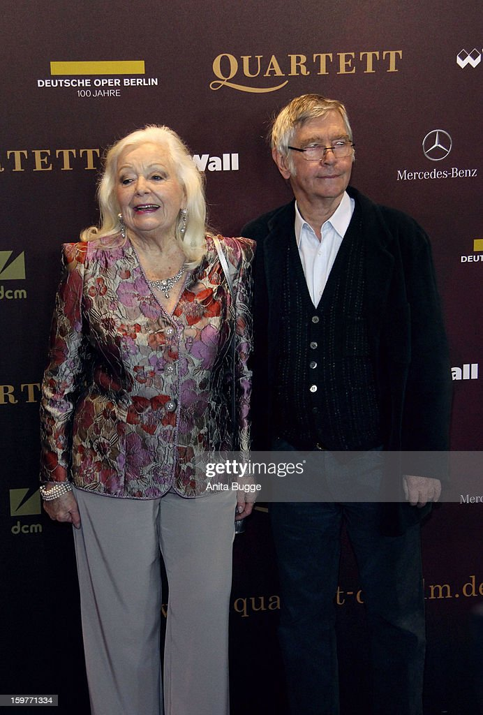 Actress Gwyneth Jones and actor <a gi-track='captionPersonalityLinkClicked' href=/galleries/search?phrase=Tom+Courtenay&family=editorial&specificpeople=699230 ng-click='$event.stopPropagation()'>Tom Courtenay</a> attend the 'Quartet' Berlin Photocall at Deutsche Oper on January 20, 2013 in Berlin, Germany.