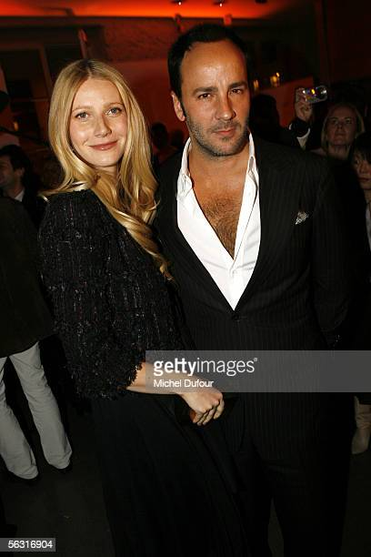 Actress Gwyneth Paltrow and designer Tom Ford attend a cocktail party at Colette shop rue du Faubourg SaintHonore attended by Estee Lauder brand...