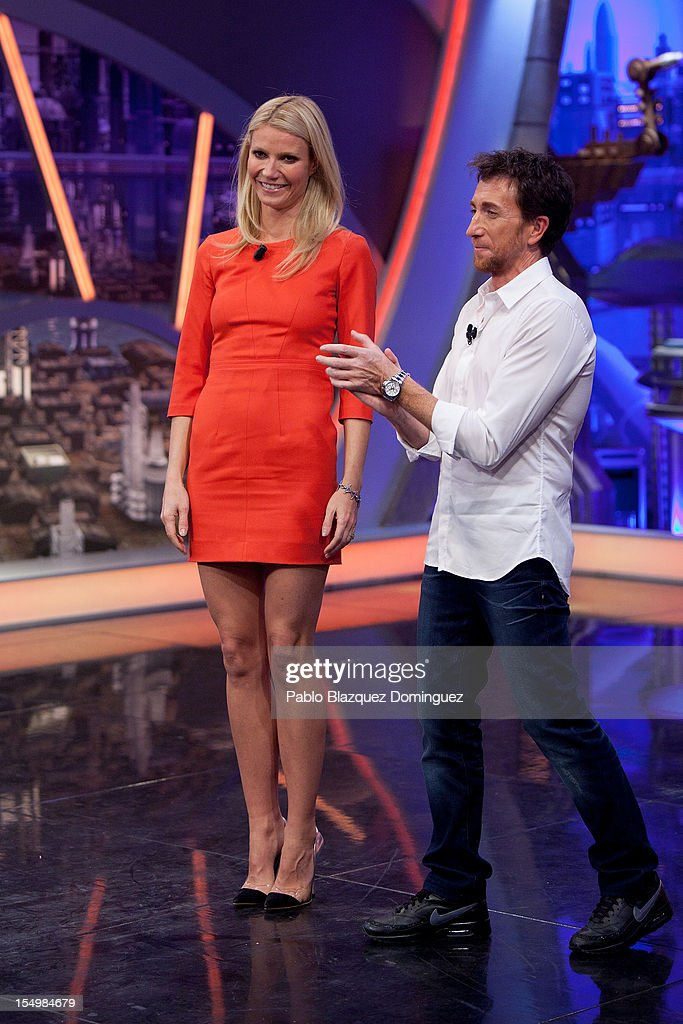 Actress Gwyneth Paltrow and Pablo Motos attend 'El Hormiguero' Tv Show at Vertice Studios on October 29, 2012 in Madrid, Spain.