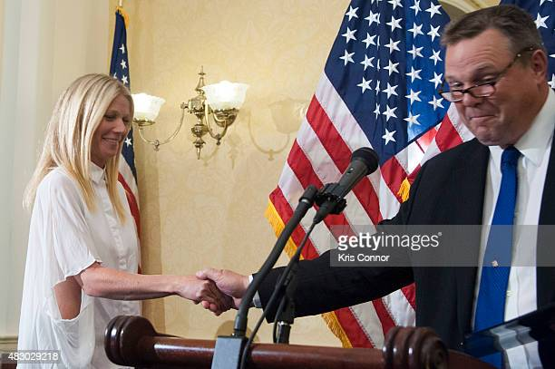 Actress Gwyneth Paltrow and Sen Jon Tester speak during a news conference to discuss opposition to HR 1599 on August 5 2015 in Washington DC HR1599...