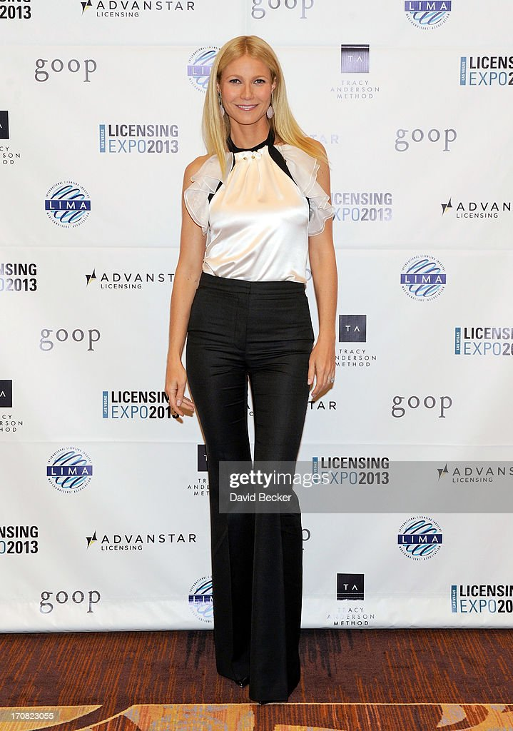 Actress <a gi-track='captionPersonalityLinkClicked' href=/galleries/search?phrase=Gwyneth+Paltrow&family=editorial&specificpeople=171431 ng-click='$event.stopPropagation()'>Gwyneth Paltrow</a> appears after delivering a keynote address at Licensing Expo 2013 at the Mandalay Bay Convention Center on June 18, 2013 in Las Vegas, Nevada.