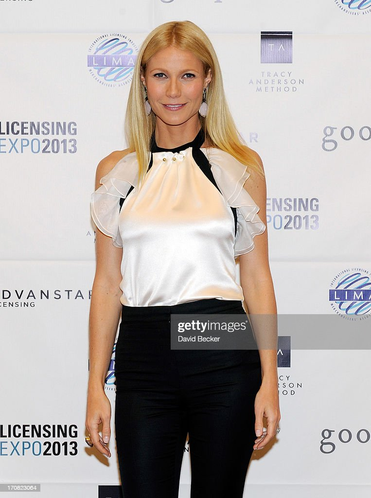 Actress Gwyneth Paltrow appears after delivering a keynote address at Licensing Expo 2013 at the Mandalay Bay Convention Center on June 18, 2013 in Las Vegas, Nevada.
