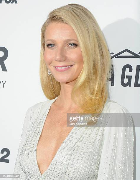 Actress Gwyneth Paltrow arrives at amfAR's Inspiration Gala Los Angeles at Milk Studios on October 29 2015 in Hollywood California