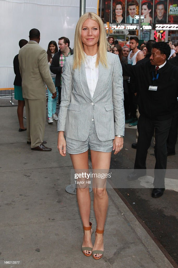 Actress Gwyneth Paltrow arrives at 'Good Morning America' at GMA Studios on April 10 2013 in New York City