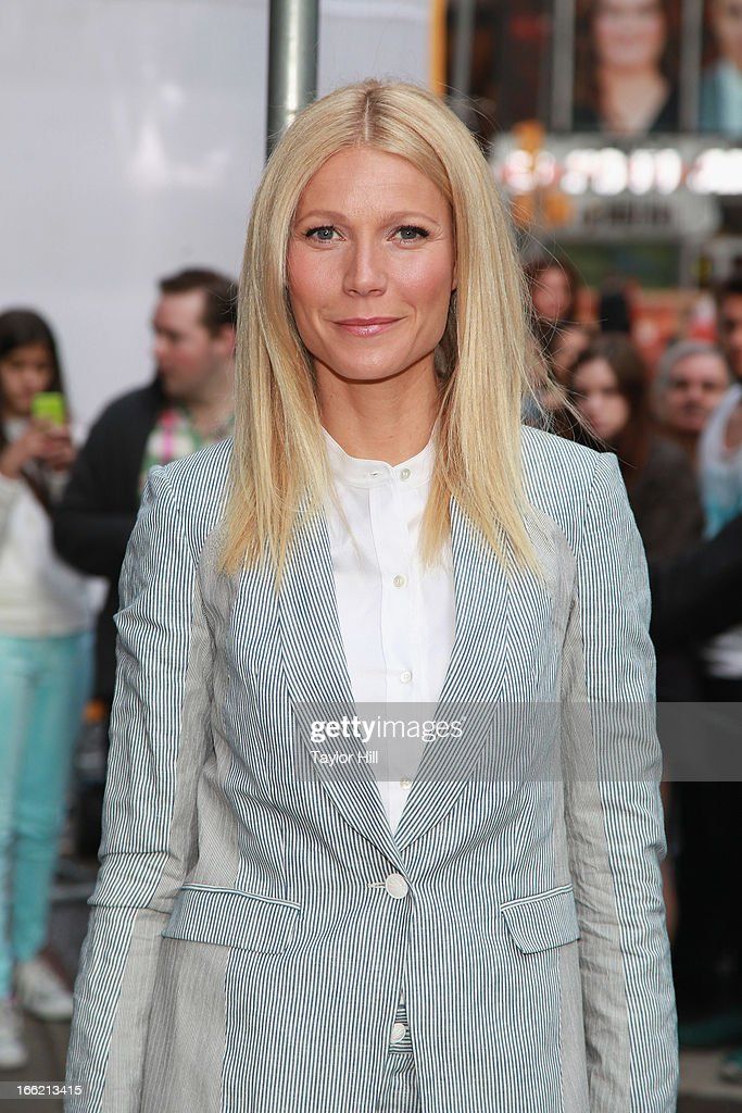 Actress Gwyneth Paltrow arrives at 'Good Morning America' at GMA Studios on April 10, 2013 in New York City.