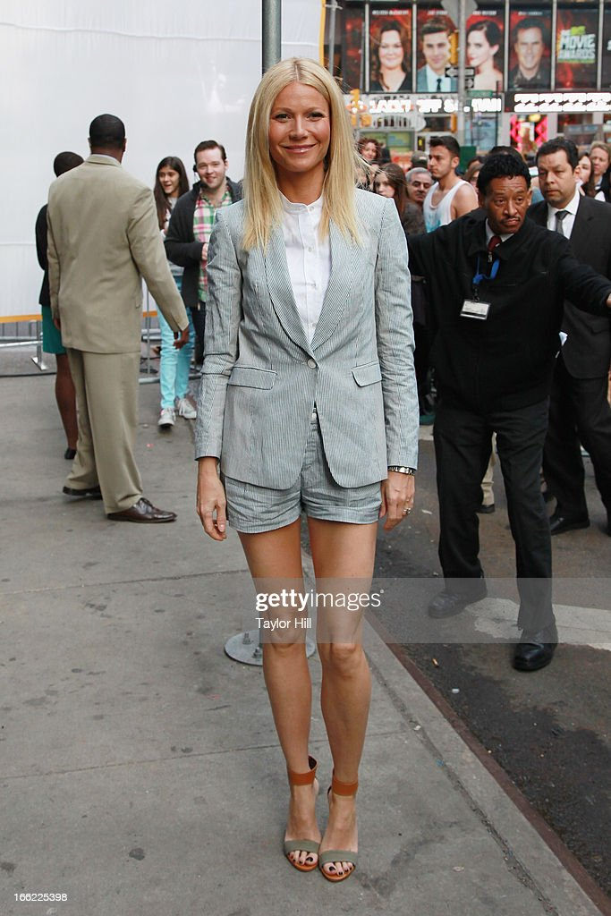 Actress <a gi-track='captionPersonalityLinkClicked' href=/galleries/search?phrase=Gwyneth+Paltrow&family=editorial&specificpeople=171431 ng-click='$event.stopPropagation()'>Gwyneth Paltrow</a> arrives at 'Good Morning America' at GMA Studios on April 10, 2013 in New York City.