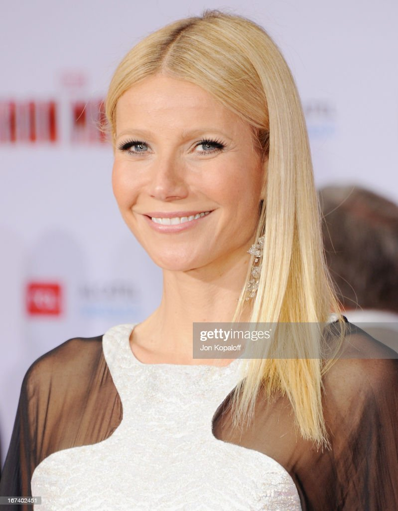 Actress <a gi-track='captionPersonalityLinkClicked' href=/galleries/search?phrase=Gwyneth+Paltrow&family=editorial&specificpeople=171431 ng-click='$event.stopPropagation()'>Gwyneth Paltrow</a> arrives at the Los Angeles Premiere 'Iron Man 3' at the El Capitan Theatre on April 24, 2013 in Hollywood, California.