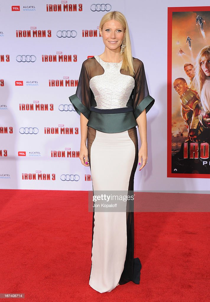 Actress Gwyneth Paltrow arrives at the Los Angeles Premiere 'Iron Man 3' at the El Capitan Theatre on April 24, 2013 in Hollywood, California.