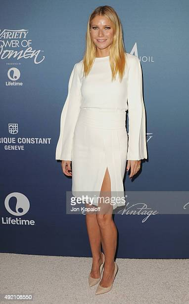 Actress Gwyneth Paltrow arrives at Variety's Power Of Women Luncheon at the Beverly Wilshire Four Seasons Hotel on October 9 2015 in Beverly Hills...