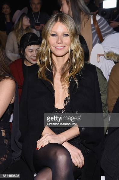 Actress Gwyneth Paltrow attends a front row during La Perla Fall/Winter 2017 RTW Show at SIR Stage 37 on February 9 2017 in New York City