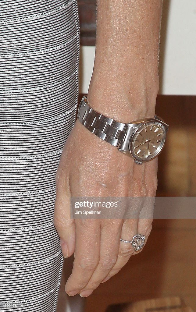Actress <a gi-track='captionPersonalityLinkClicked' href=/galleries/search?phrase=Gwyneth+Paltrow&family=editorial&specificpeople=171431 ng-click='$event.stopPropagation()'>Gwyneth Paltrow</a> (jewelry detail) attends a signing for her new book 'It's All Good' at Williams-Sonoma on April 9, 2013 in New York City.