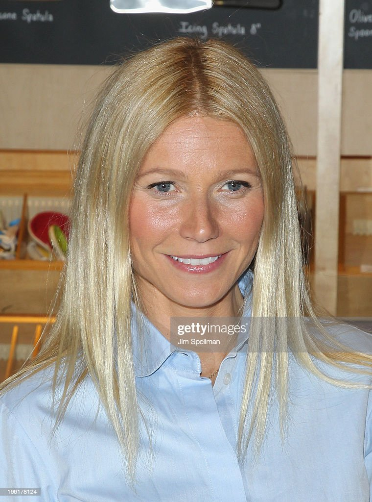 Actress <a gi-track='captionPersonalityLinkClicked' href=/galleries/search?phrase=Gwyneth+Paltrow&family=editorial&specificpeople=171431 ng-click='$event.stopPropagation()'>Gwyneth Paltrow</a> attends a signing for her new book 'It's All Good' at Williams-Sonoma on April 9, 2013 in New York City.