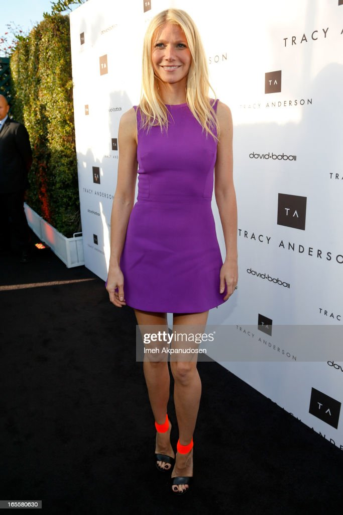 Actress <a gi-track='captionPersonalityLinkClicked' href=/galleries/search?phrase=Gwyneth+Paltrow&family=editorial&specificpeople=171431 ng-click='$event.stopPropagation()'>Gwyneth Paltrow</a> attends the opening of Tracy Anderson flagship studio at Tracy Anderson Flagship Studio on April 4, 2013 in Brentwood, California.