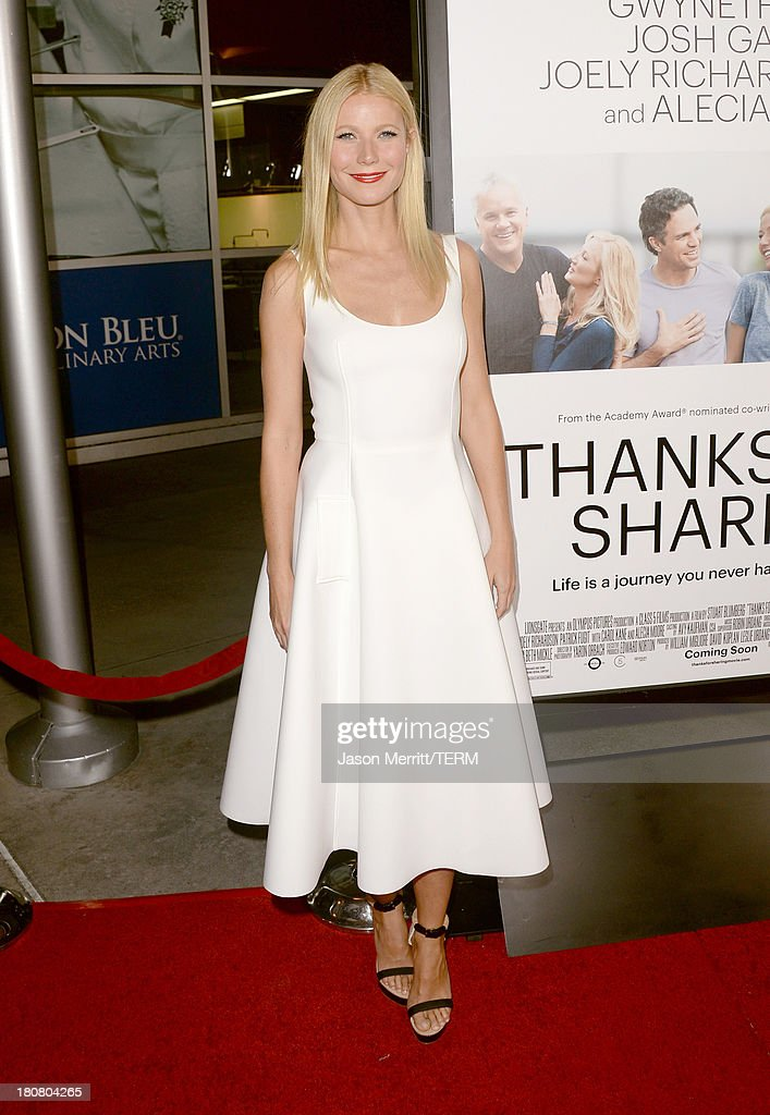 Actress <a gi-track='captionPersonalityLinkClicked' href=/galleries/search?phrase=Gwyneth+Paltrow&family=editorial&specificpeople=171431 ng-click='$event.stopPropagation()'>Gwyneth Paltrow</a> attends the premiere of Roadside Attractions' 'Thanks For Sharing' at ArcLight Cinemas on September 16, 2013 in Hollywood, California.