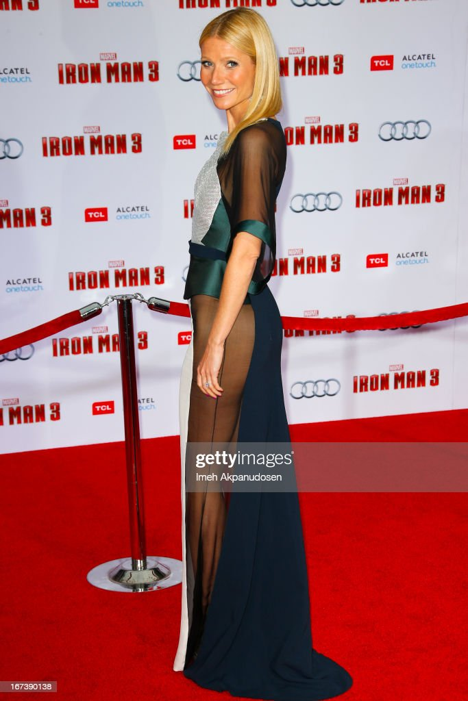 Actress Gwyneth Paltrow attends the premiere of Walt Disney Pictures' 'Iron Man 3' at the El Capitan Theatre on April 24, 2013 in Hollywood, California.