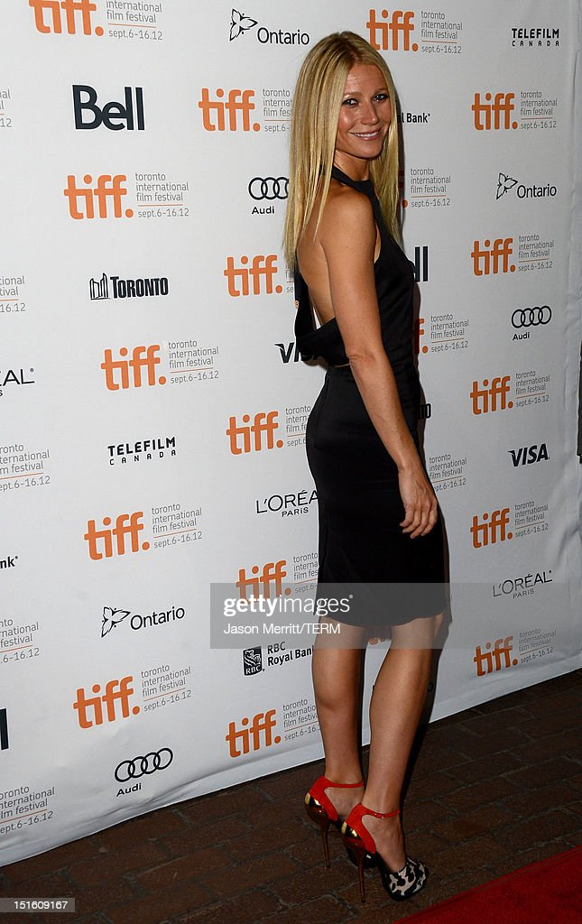 Actress <a gi-track='captionPersonalityLinkClicked' href=/galleries/search?phrase=Gwyneth+Paltrow&family=editorial&specificpeople=171431 ng-click='$event.stopPropagation()'>Gwyneth Paltrow</a> attends the 'Thanks For Sharing' premiere during the 2012 Toronto International Film Festival at Ryerson Theatre on September 8, 2012 in Toronto, Canada.
