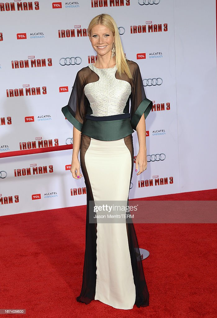 Actress <a gi-track='captionPersonalityLinkClicked' href=/galleries/search?phrase=Gwyneth+Paltrow&family=editorial&specificpeople=171431 ng-click='$event.stopPropagation()'>Gwyneth Paltrow</a> attends the U.S. Premiere of Marvel's Iron Man 3 hosted by Audi at the El Capitan Theatre on April 24, 2013 in Hollywood, California.