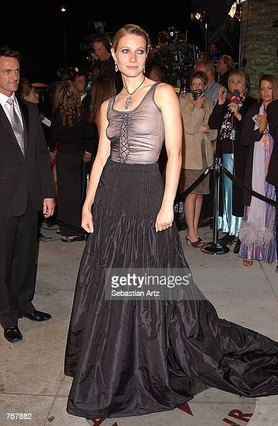 Actress Gwyneth Paltrow attends the Vanity Fair Oscar Party at Mortons March 24 2002 in West Hollywood CA