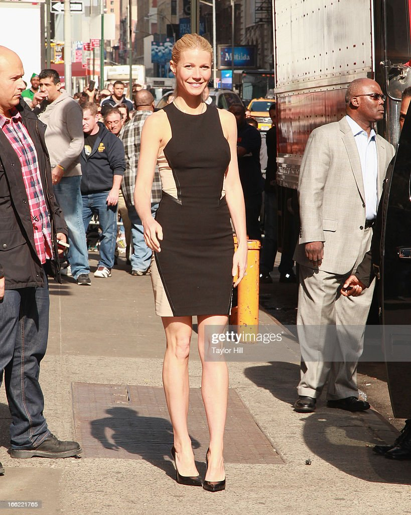 Actress <a gi-track='captionPersonalityLinkClicked' href=/galleries/search?phrase=Gwyneth+Paltrow&family=editorial&specificpeople=171431 ng-click='$event.stopPropagation()'>Gwyneth Paltrow</a> departs 'Good Morning America' at GMA Studios on April 10, 2013 in New York City.