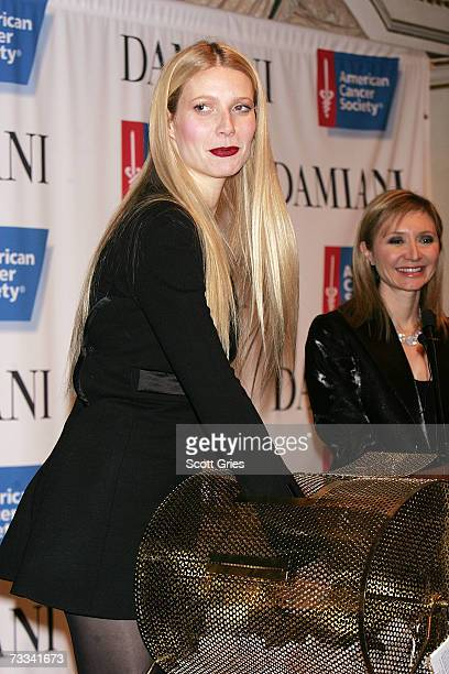 Actress Gwyneth Paltrow draws a raffle for a Damiani necklace at the American Cancer Society's Hope Lodge benefit reception at the St Regis Hotel...