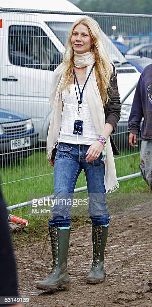 Actress Gwyneth Paltrow is seen on the third day of the Glastonbury Music Festival 2005 at Worthy Farm Pilton on June 25 2005 in Somerset England The...