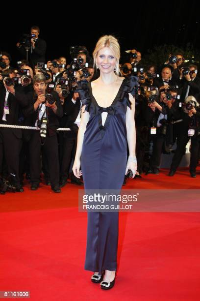 US actress Gwyneth Paltrow poses as she arrives to attend the screening of US director James Gray's film 'Two Lovers' at the 61st Cannes...