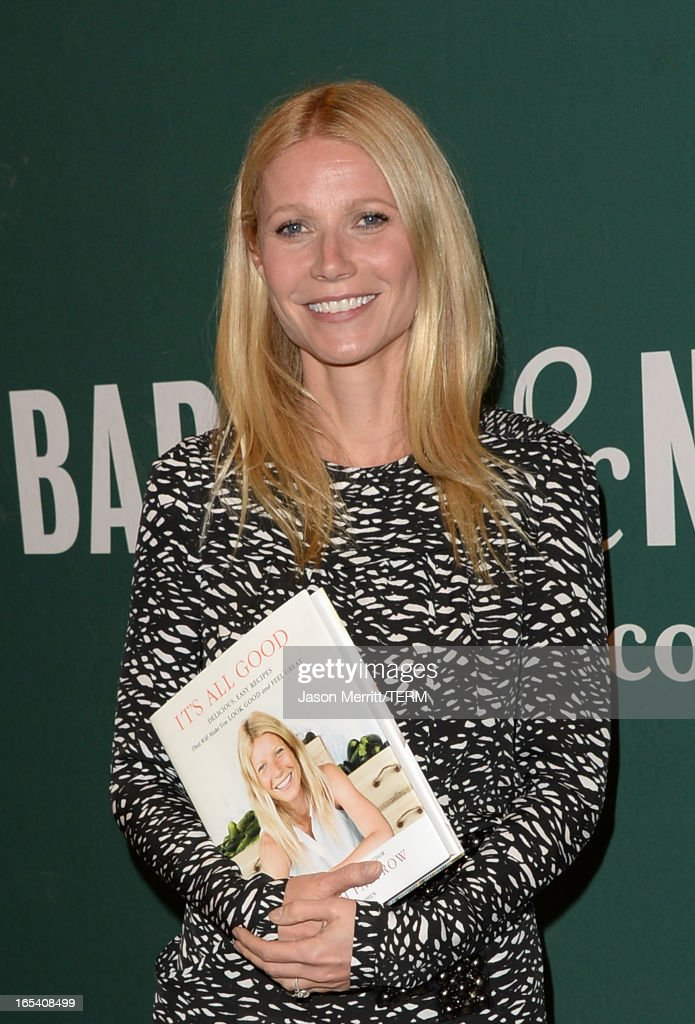 Actress <a gi-track='captionPersonalityLinkClicked' href=/galleries/search?phrase=Gwyneth+Paltrow&family=editorial&specificpeople=171431 ng-click='$event.stopPropagation()'>Gwyneth Paltrow</a> signs her new book 'It's All Good: Delicious, Easy Recipes That Will Make You Look Good and Feel Great' at Barnes & Noble bookstore at The Grove on April 3, 2013 in Los Angeles, California.