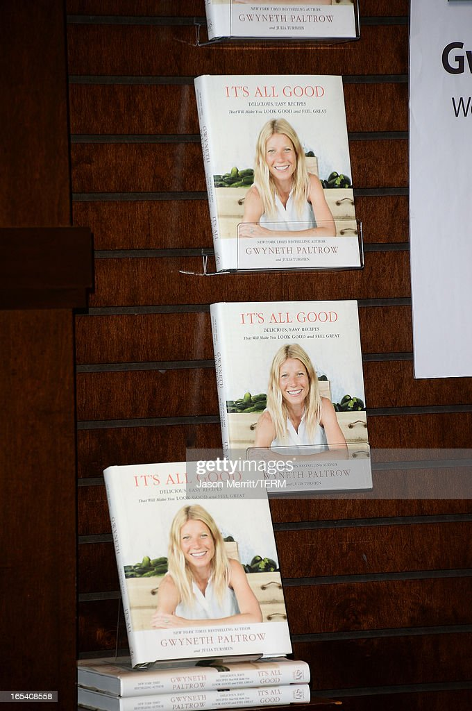Actress Gwyneth Paltrow signs her new book 'It's All Good: Delicious, Easy Recipes That Will Make You Look Good and Feel Great' at Barnes & Noble bookstore at The Grove on April 3, 2013 in Los Angeles, California.