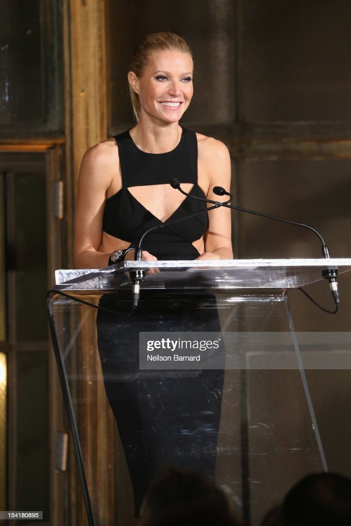 Actress <a gi-track='captionPersonalityLinkClicked' href=/galleries/search?phrase=Gwyneth+Paltrow&family=editorial&specificpeople=171431 ng-click='$event.stopPropagation()'>Gwyneth Paltrow</a> speaks onstage at the Michael Kors- Golden Heart Gala at Cunard Building on October 15, 2012 in New York City.