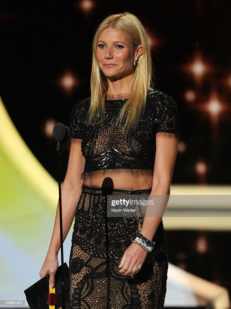 Actress <a gi-track='captionPersonalityLinkClicked' href=/galleries/search?phrase=Gwyneth+Paltrow&family=editorial&specificpeople=171431 ng-click='$event.stopPropagation()'>Gwyneth Paltrow</a> speaks onstage during the 63rd Annual Primetime Emmy Awards held at Nokia Theatre L.A. LIVE on September 18, 2011 in Los Angeles, California.