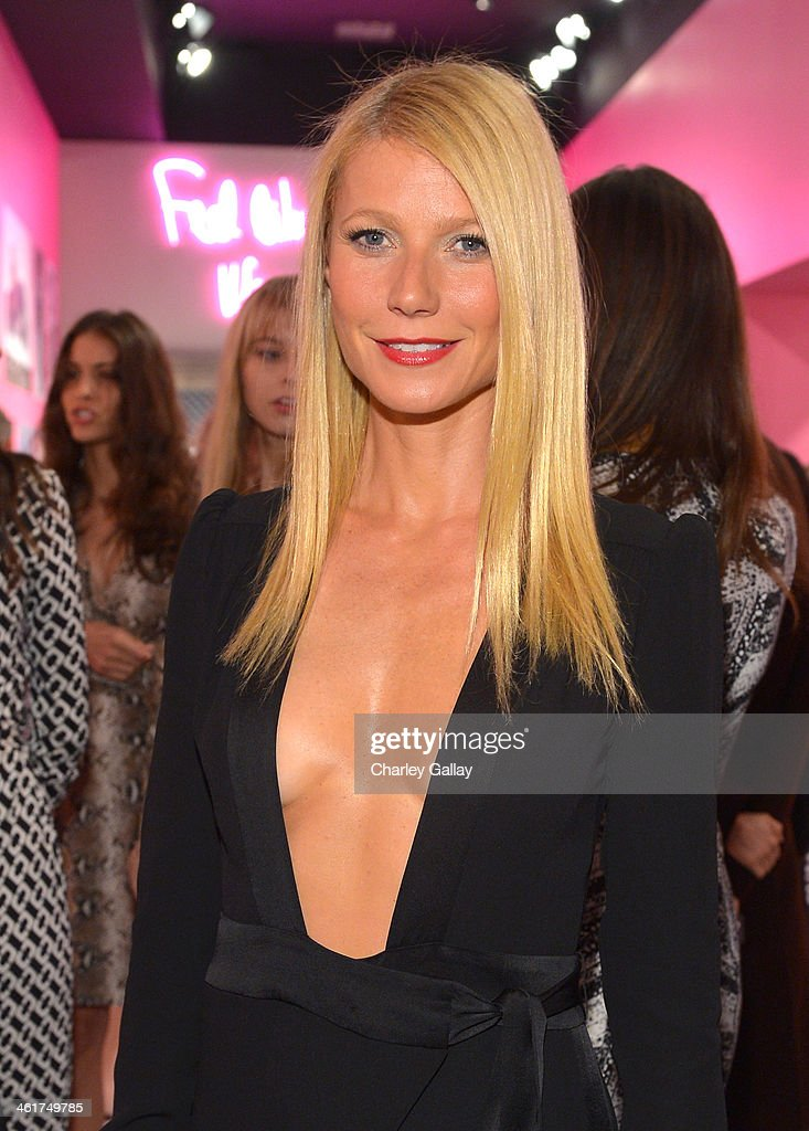 Actress Gwyneth Paltrow wearing Diane Von Furstenberg attends Diane Von Furstenberg's Journey of A Dress Exhibition Opening Celebration at May...