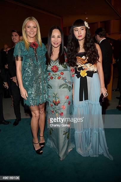 Actress Gwyneth Paltrow wearing Gucci Art Film Gala cochair and LACMA Trustee Eva Chow wearing Gucci and musician Asia Chow wearing Gucci attend...