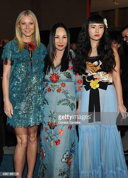 Actress Gwyneth Paltrow wearing Gucci ArtFilm Gala cochair and LACMA Trustee Eva Chow wearing Gucci and musician Asia Chow wearing Gucci attend LACMA...