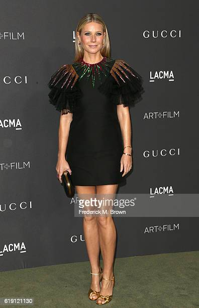 Actress Gwyneth Paltrow wearing Gucci attends the 2016 LACMA Art Film Gala honoring Robert Irwin and Kathryn Bigelow presented by Gucci at LACMA on...