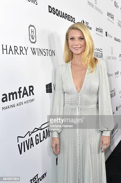 Actress Gwyneth Paltrow wearing Harry Winston at amfAR's Inspiration Gala Los Angeles at Milk Studios on October 29 2015 in Hollywood California